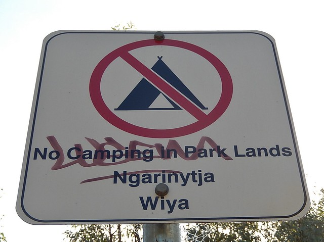 Camping Not Permitted for English and Aboriginal Language Speakers
