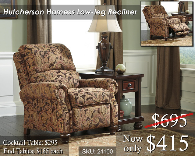 21100-30 Hutcherson Harness Low Leg Recliner - PRICED