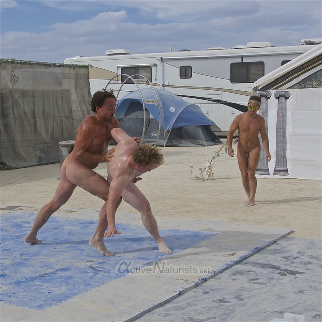 naturist wrestling camp Gymnasium 0037 Burning Man, Black Rock City, NV, USA