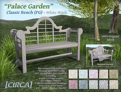 "@ The Old Fair - [CIRCA] - ""Palace Garden"" - Classic Bench (PG) - White Wash"