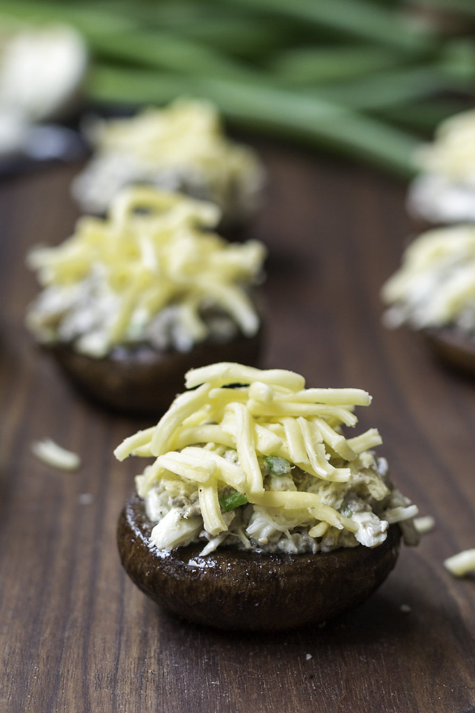 crab and gouda stuffed mushrooms on board