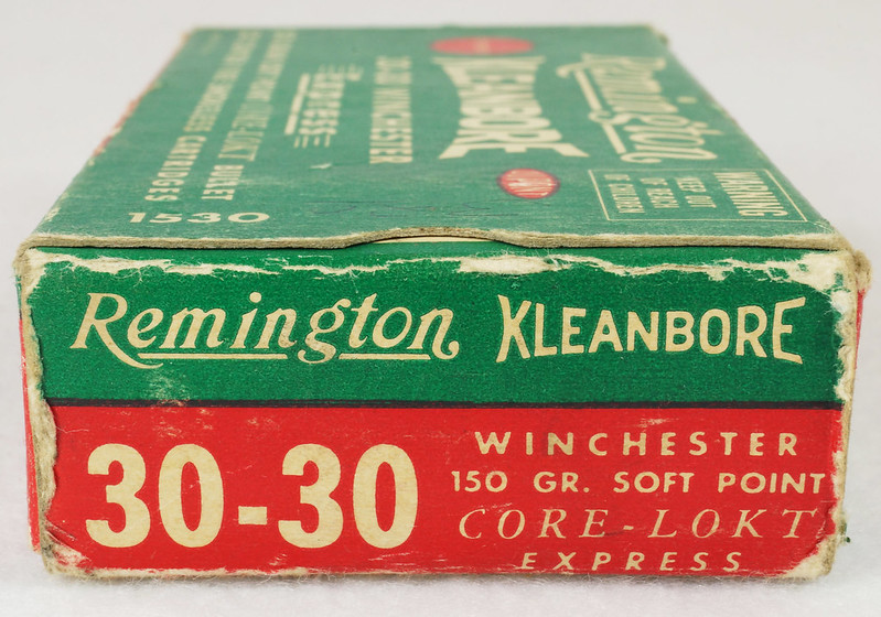 RD14567 Vintage Remington KLEANBORE 30-30 Express 150 gr. Soft Point SMOKELESS Ammo Box & 20 Brass Casings DSC06988
