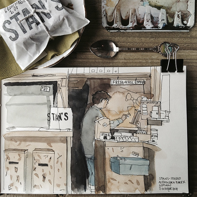 Sarah Stanley at the counter