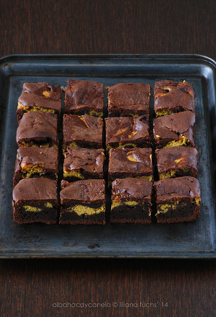 Pumpkin cream cheese brownie