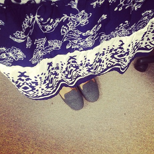 "Feeling a little ""little house on the prairie"" today. #fashion #skirts #blue"