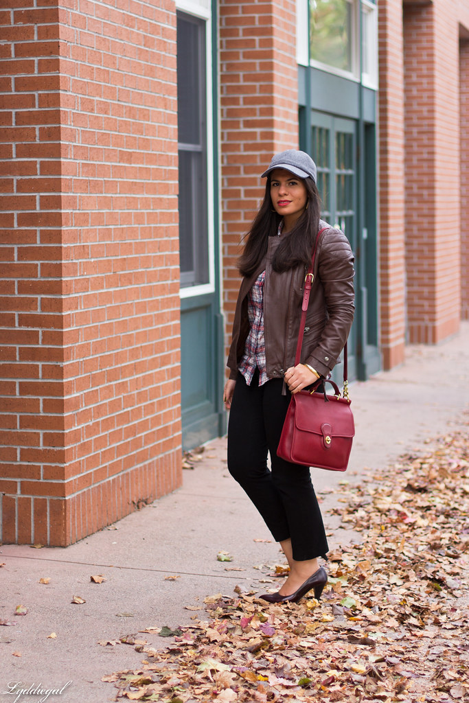 brown leather jacket, plaid shirt, wool cap.jpg
