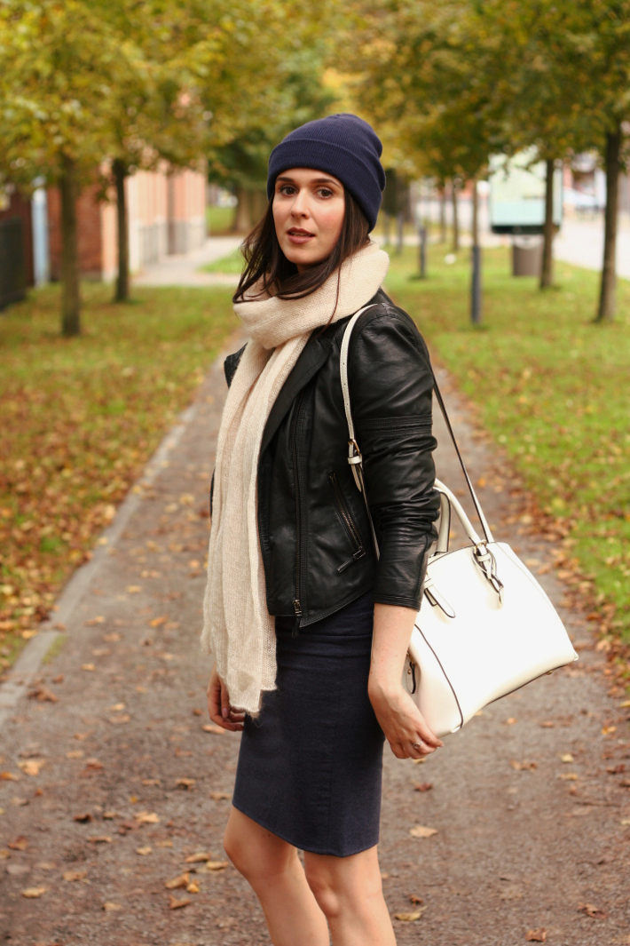 leather jacket zara beanie white purse
