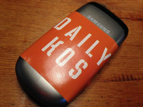Missys Brother's phone with a Daily Kos sticker