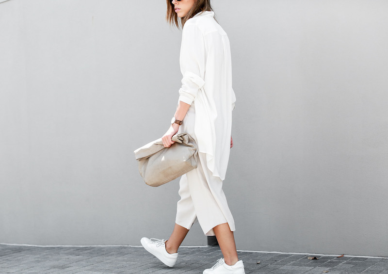 modern legacy fashion blog Australia street style neutrals BC Saba culottes Mode Collective Lunchy leather clutch white leather trainers (6 of 7)