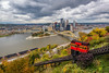 A view of the Duquesne Incline and Pittsburgh skyline in the fall