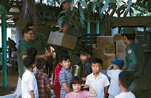 An Lac Orphanage MEDCAP. Unloading Medical & Food Supplies, Dec 1968