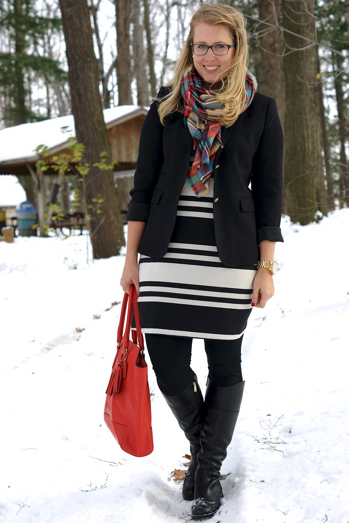 striped skirt with a blazer and flannel scarf