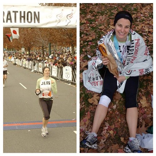 #tbt this weekend four years ago when I set my marathon PR at my hometown race @Philly_Marathon and ate a delicious Philly pretzel afterward.