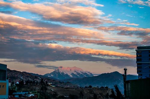 sunset sky mountain atardecer snowcapped cielo vista lapaz nevado illimani