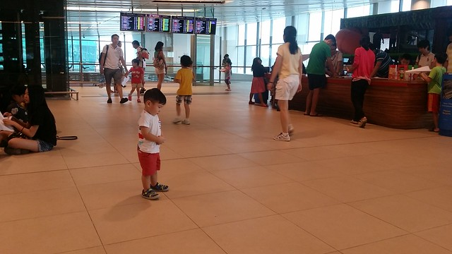 Jerome throwing a tantrum at Changi Airport T1.