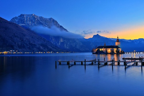 longexposure sunset lake mountains alps salzburg castle church water port reflections landscape see pier twilight rocks dusk jetty lakeside chateau hdr traunstein salzkammergut traunsee