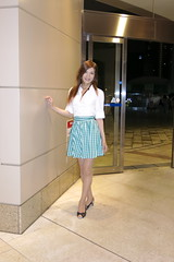White shirt and Gingham miniskirt_5