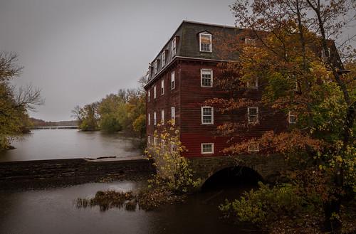 autumn fall rain weather river landscape newjersey unitedstates gray drcanal nj kingston princeton millhouse millstoneriver delawareandraritancanal