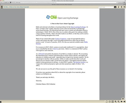 Open Resource Library - Copyright Statement