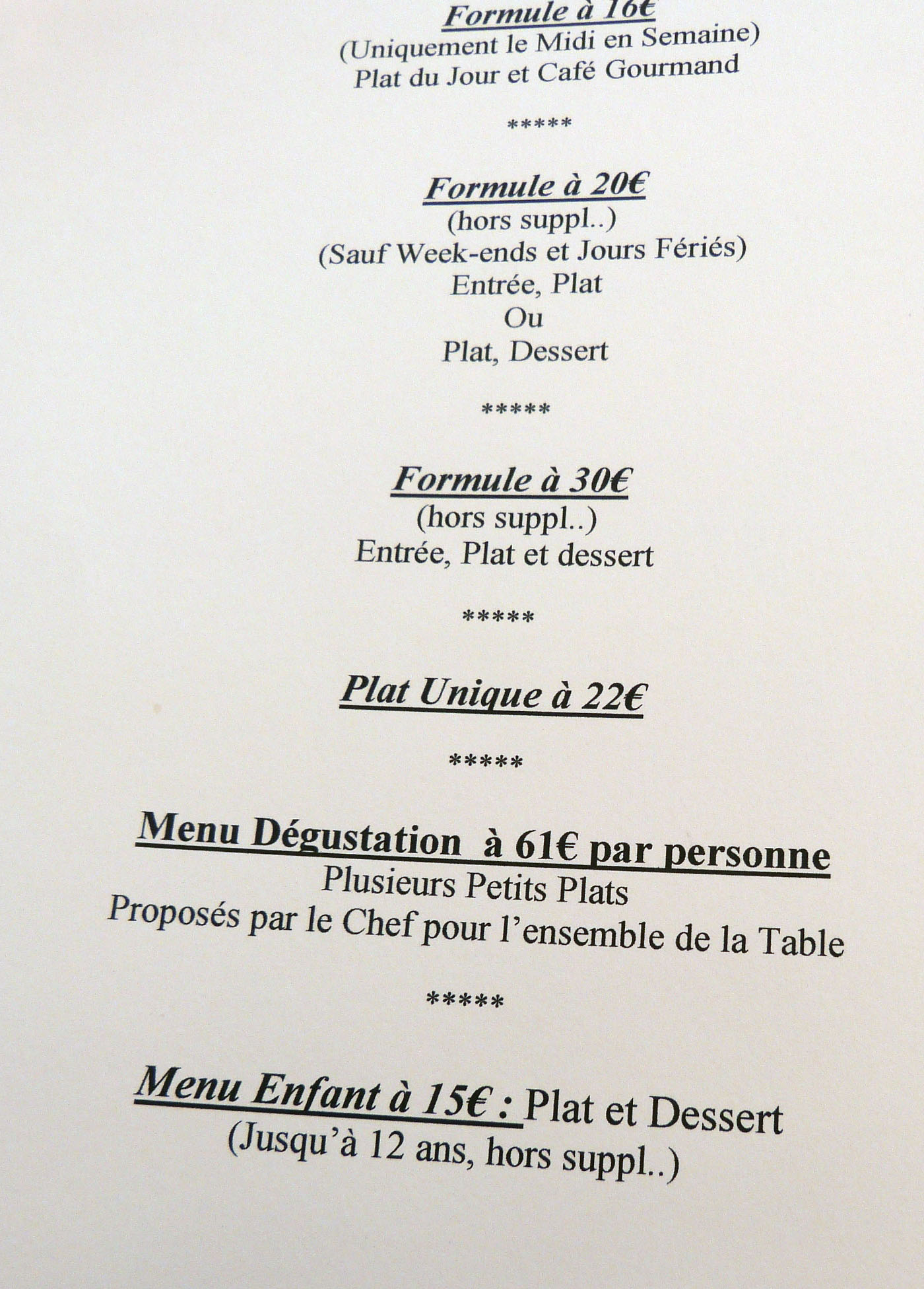 prix menus grand saint benoît