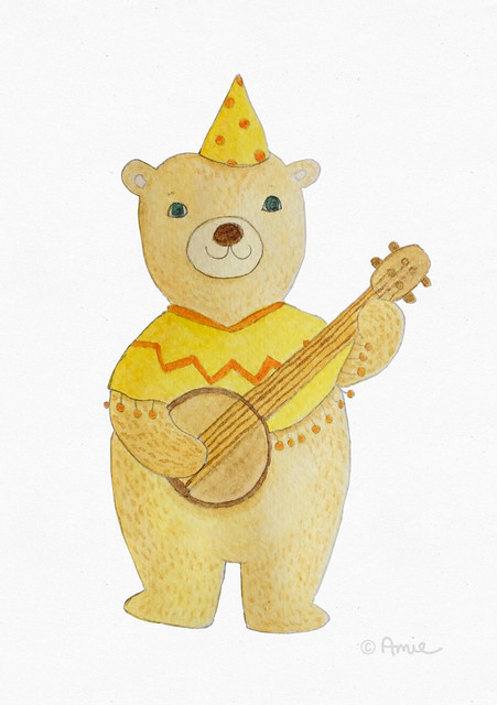 Brown bear playing his banjo illustration