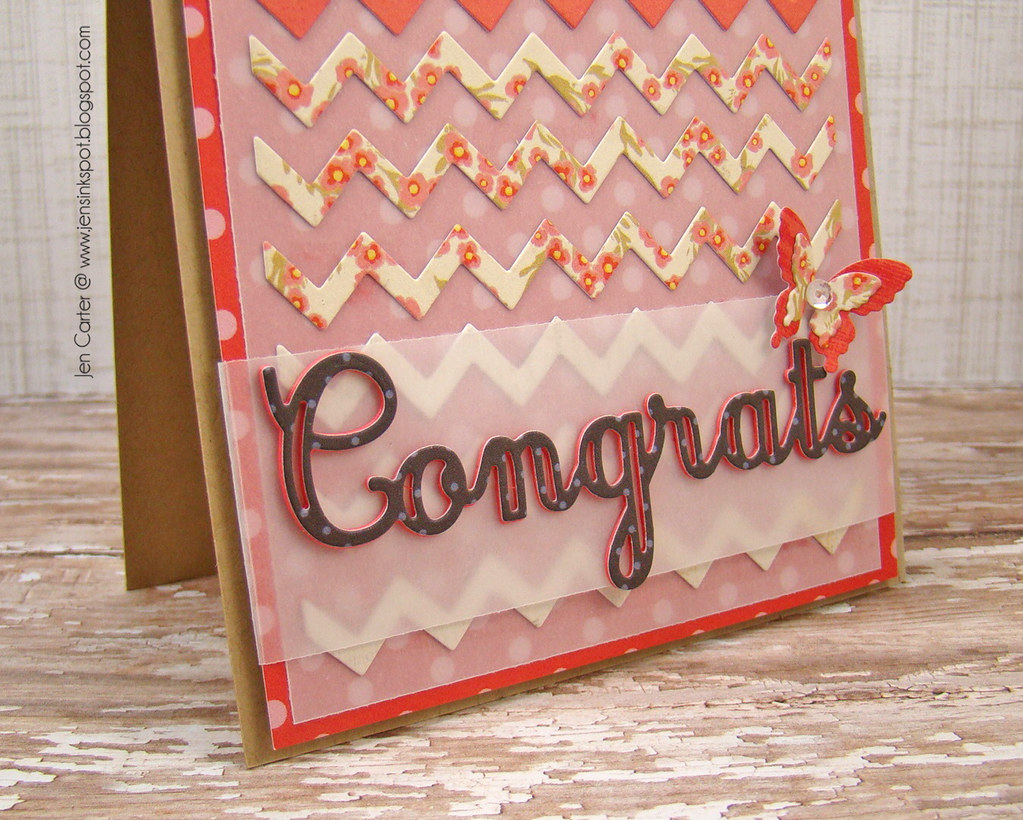 Chevron Congrats red Closeup