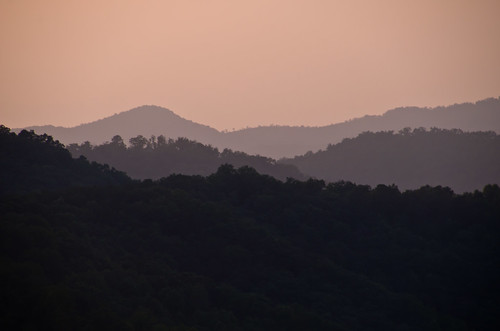 park trees sunset sky mountains silhouette evening haze tennessee great national smoky