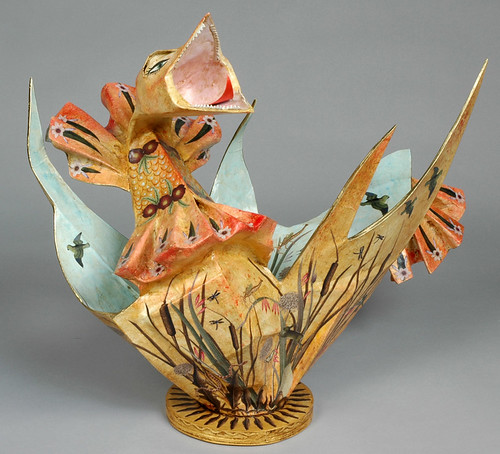Paper Maché Decoupaged Hen