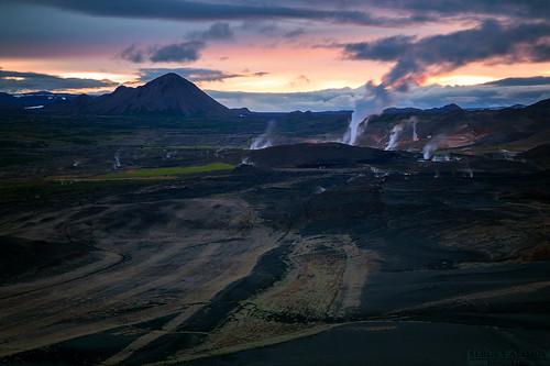 sky cloud mountain black skyline night sunrise volcano lava iceland sand cloudy steam valley vapor ísland hverfjall námaskarð mývatn reykjahlíð hverfell