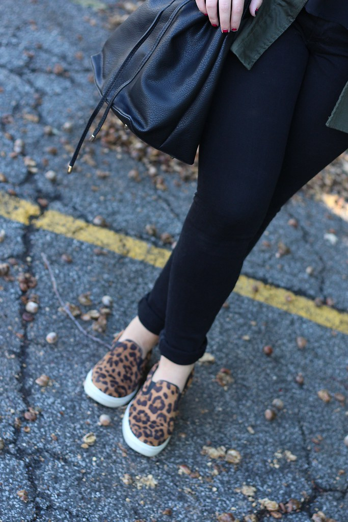 Army Jacket & Leopard Sneakers | My Go-To October Outfit | #LivingAfterMidnite