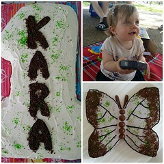The birthday girl and her birthday cakes #1stbirthday #numberone #butterfly #cakes #yum #mybeautifulbaby #timeflies