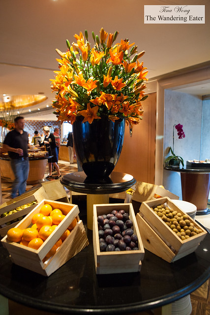 Wooden boxes of fresh fruits at Grand Cafe breakfast buffet