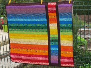 Rainbow Strip and Flip Baby Quilt