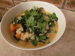 Sweet Potato and Red Curry Soup with Rice and Kale