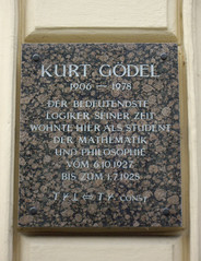Photo of Kurt Gödel black plaque