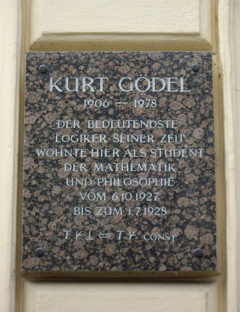 Photo of Kurt Gödel black plaque