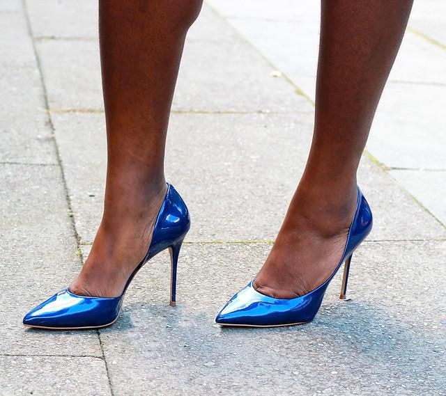 Metallic Blue Heels