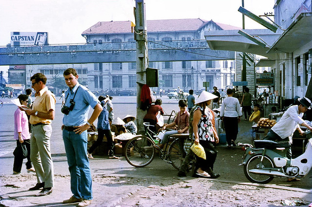 SAIGON (late 1971) - Graham Millar & Pete Smith (both 2AOD) lost in Saigon. Photo by Mike Vogt