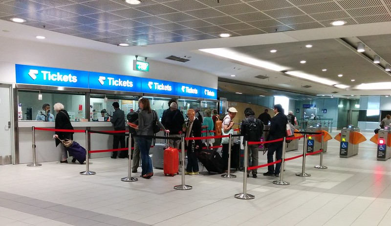 Sydney Domestic Airport railway station - queue for tickets