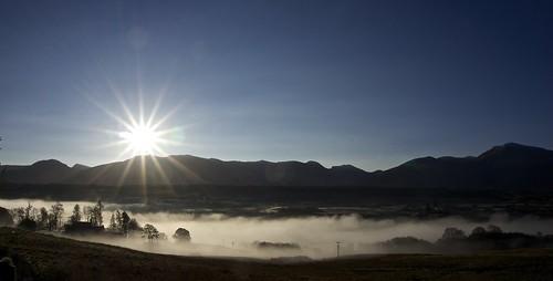 sky cloud sun mist mountains landscape grey woods valley nevisrange aonachmor corries