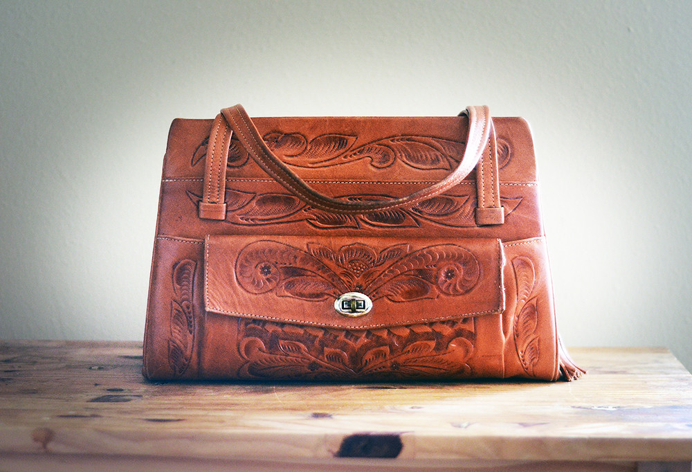 Large Vintage Artmex Tooled Leather Purse