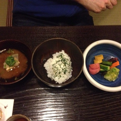 Bon's 9th course: miso soup, rice with green tea, and pickled veggies.