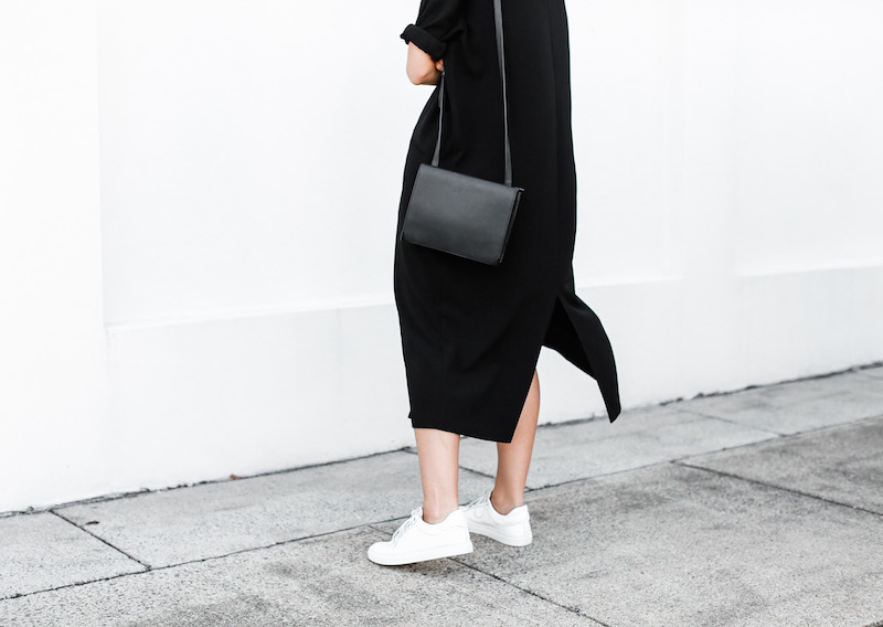 modern legacy blog ASOS duster coat black dress sneakers street style Alexander Wang Prisma clutch monochrome (12 of 13)