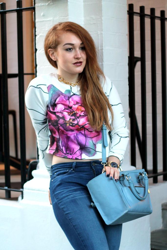 Asos petal crop jumper, bootcut jeans (6)