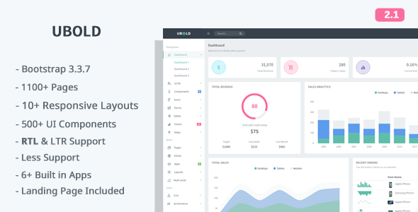 Ubold 2.1.0 - Responsive Web App Kit