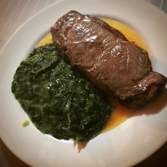 Dinner. Prime NY strip with creamed spinach. #dinner #usdaprime #nystrip #creamedspinach