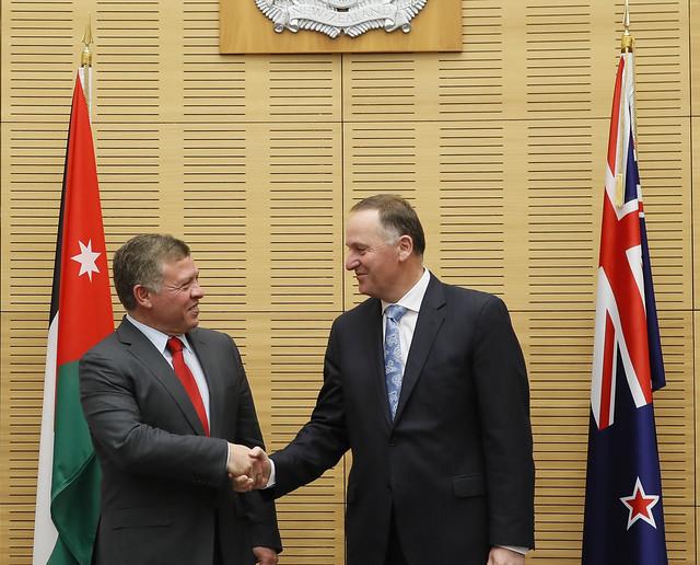 جلالة الملك عبدالله الثاني يلتقي رئيس الوزراء النيوزيلاندي، جون كي، وعدد من الوزراء