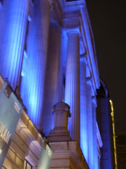 Wellcome Collection - Euston Road, London - columns and blue light