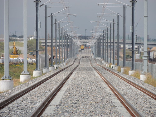 Photo of East Rail Line tracks looking west from Havana Street