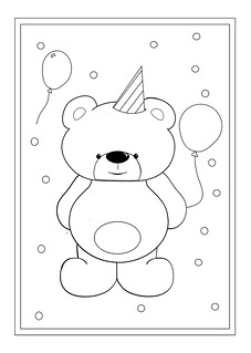 Teddy Birthday Colouring Sheet